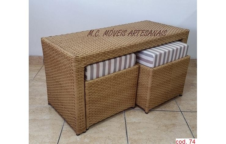 074 mesa de centro mc com puffs em fibra sint tica for Mesa centro puff
