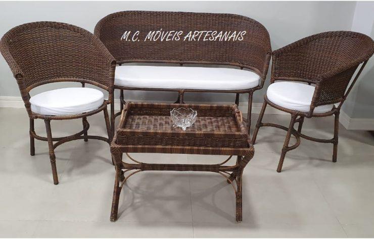 conjunto sofa poltrona vime sintetico