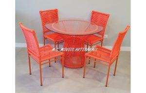 conjunto de mesa e cadeira em corda náutica, Fabrica Moveis Corda Nautica